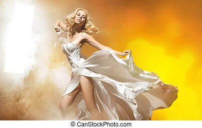 mulher, espantoso, posar, loura, excitado, vestido