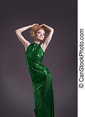 mulher, espantoso, posar, traje, verde, transparente