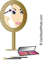 mulher, espelho
