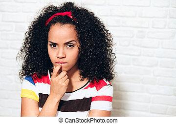 mulher, esposa, zangado, após, jovem, argumento, ciumento, menina, luta, discussão