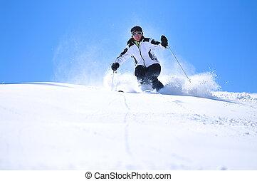 mulher, esqui, winer
