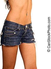 mulher, estômago, ajustar, pelado, calças brim, excitado
