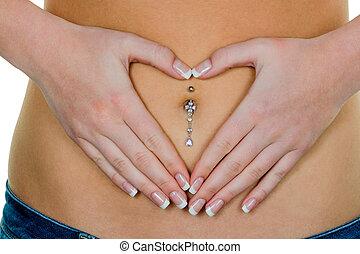 mulher, estômago, mãos