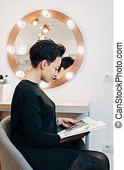 mulher, estúdio, atraente, beleza, espelho
