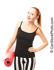 mulher, esteira yoga, condicão física
