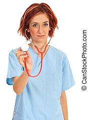 mulher, estetoscópio, doutor jovem