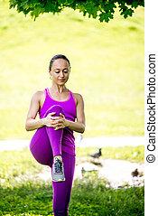 mulher, estilo vida, natureza, saudável, exercises., retrato