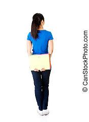 mulher, estudante, jovem, costas, notebook., segurando, vista