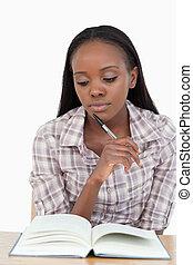 mulher, estudar, jovem