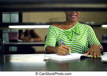 mulher, estudar, jovem, biblioteca, faculdade, femininas, estudante, pretas