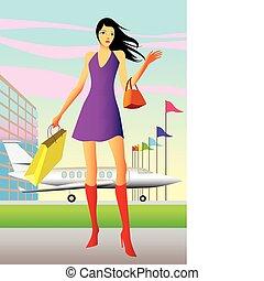 mulher, excitado, aeroporto