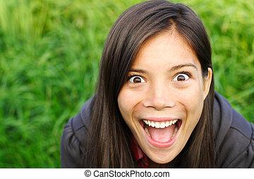 mulher, excitado