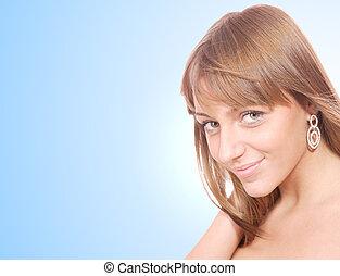 mulher, excitado, jovem, bonito