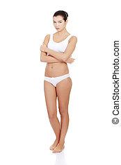 mulher, excitado, underwear., atraente