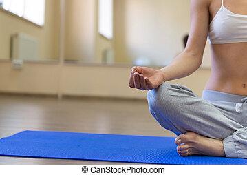 mulher, exercício, jovem, ioga, bonito