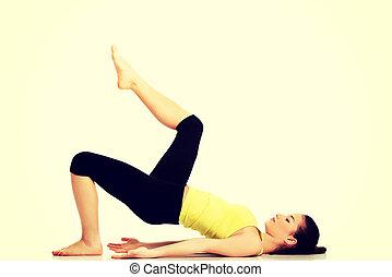 mulher, exercise., condicão física