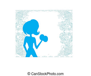 mulher, exercitar, ajustar