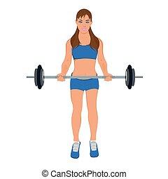 mulher, exercitar, condicão física