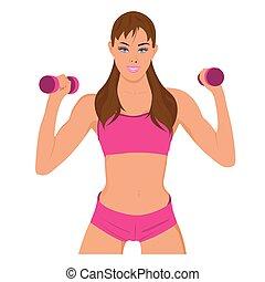 mulher, exercitar, desporto, condicão física