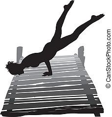 mulher, exercitar, ligado, cais