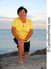 mulher, exercitar, maduras