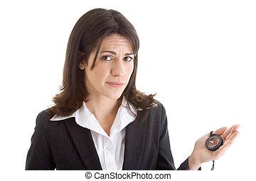 mulher, expression., confundido, preocupado, segurando, compasso, caucasiano