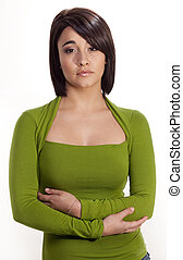 mulher, expression., jovem, deslumbrante, sério, caucasiano