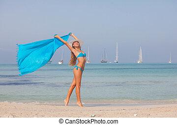 mulher, férias, concept., liberdade