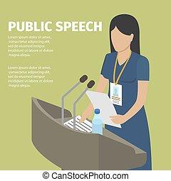 mulher, faceless, banner., fala, conceitual, público