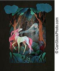 mulher, fairytale, noturna, jovem, ilustração, floresta, unicórnio, frente