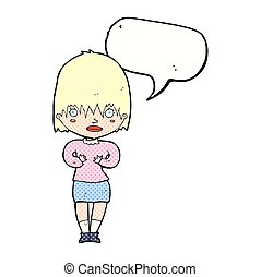 mulher, fala, fazer, me?, bolha, caricatura, gesto