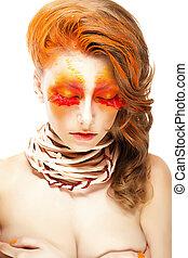 mulher, falso, fechado, chicotadas, Fazer, cima, Criativo,  stylized, inflamável, olhos, vermelho