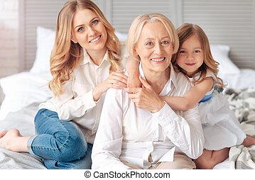 mulher, família, dela, gastando, idoso, tempo, feliz