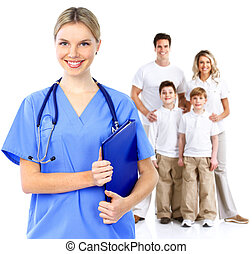 mulher, família, doutor