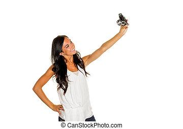 mulher, faz, selfi