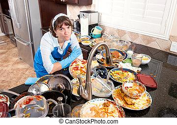 mulher, fazendo, a, pratos