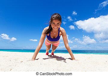mulher, fazendo, empurrão, ups, ligado, praia