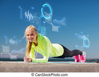 mulher, fazendo, esportes, ao ar livre