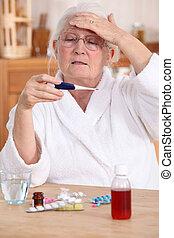 mulher, fazendo exame temperatura