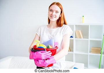 mulher, fazendo, housework