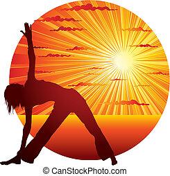 mulher, fazendo, ioga