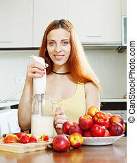mulher, fazer, bebidas, com, liquidificador, de, nectarinas