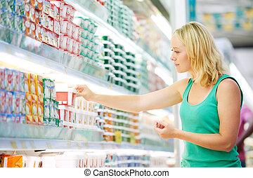 mulher, fazer, leiteria, shopping