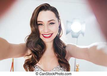 mulher, fazer, selfie, charming, foto