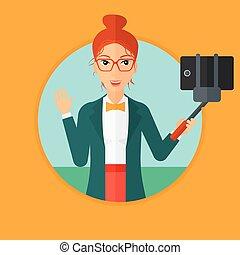mulher, fazer, selfie.