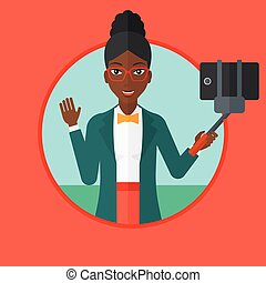 mulher, fazer, selfie, vetorial, illustration.