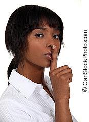 mulher, fazer, shush, gesto