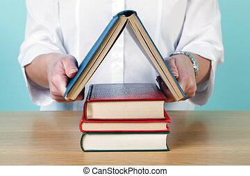 mulher, fazer, um, casa, de, livros