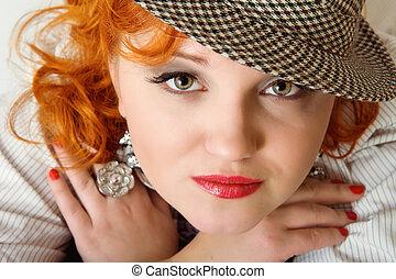 mulher, fedora, cabelos, jovem, chapéu, vermelho