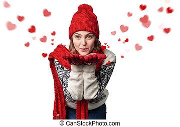 mulher feliz, beijo fundindo, com, corações